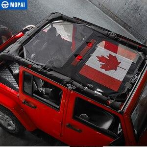 Image 4 - MOPAI 4 باب سيارة سقف شبكة بيكيني أعلى ظلة غطاء UV الشمس شبكة تظليل ل جيب رانجلر JK 2007 2017 اكسسوارات السيارات التصميم