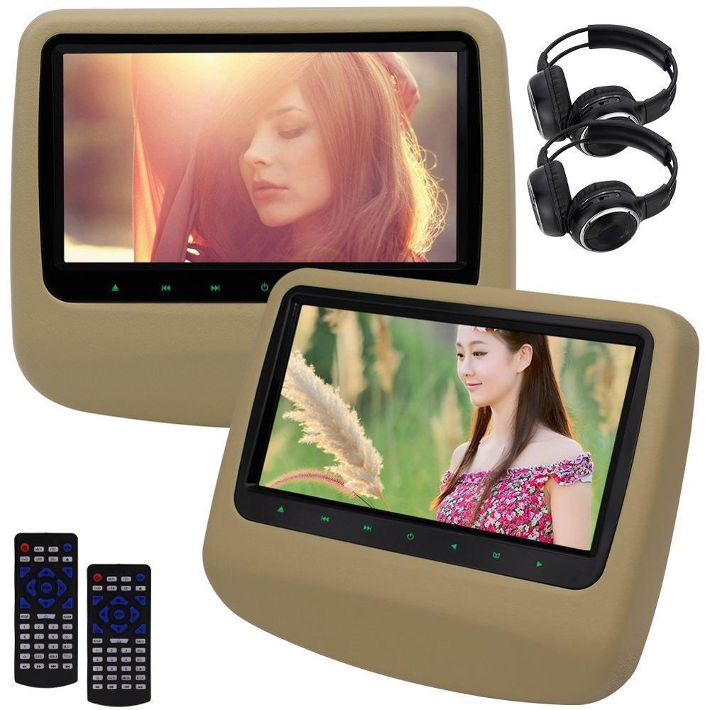 9 pouces voiture véhicule appuie-tête lecteur DVD HD voiture écran vidéo moniteur Support USB SD FM région libre avec AV OUT Dual-IR casque