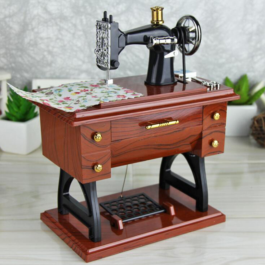 New Small Music Boxes Plastic Vintage Music Box Mini Sewing Machine Style Mechanical Birthday Gift Table Decor