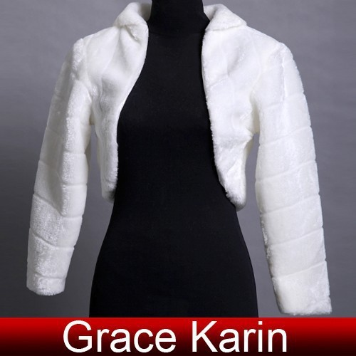 Elegant Cheap Grace Karin Long Sleeve Bolero Jacket Wedding Dress Accessories Coat Faux Fur Bridal Shawl Wraps Mariage CL2621
