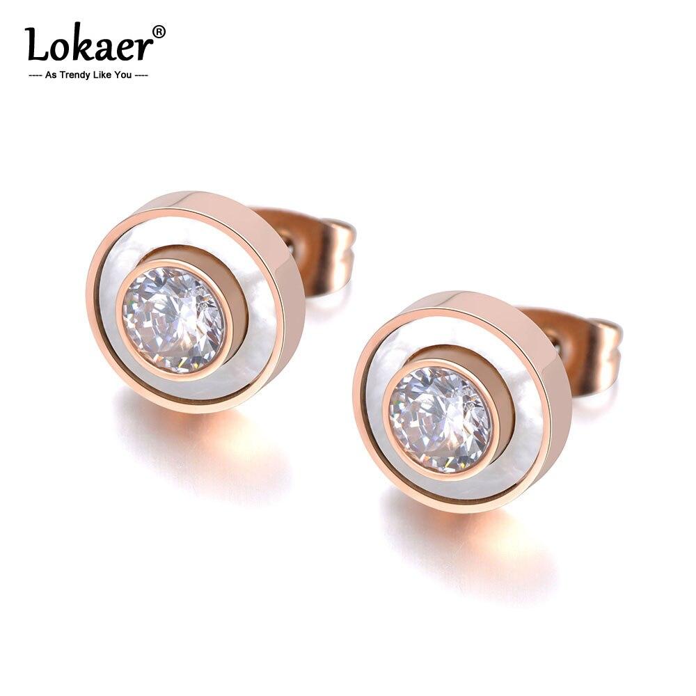Lokaer Trendy Stainless Steel White Shell Stud Earrings Jewelry For Women Girls Rose Gold CZ Crystal Anniversary Earrings E19029