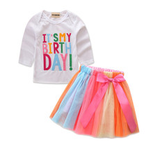 Baby Girsl Kids Toddler Birthday Clothes Set Long Sleeves T-shirt Top + Bow Tulle Skirt 2Pcs Outfit Clothing(China)