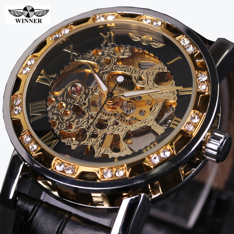 Winner Luxury Brand Mechanical Watches Men Skeleton Dial Clock Roman Casual Wristwatches Relogio Men Mechanical Hand Wind Watch ks black skeleton gun tone roman hollow mechanical pocket watch men vintage hand wind clock fobs watches long chain gift ksp069