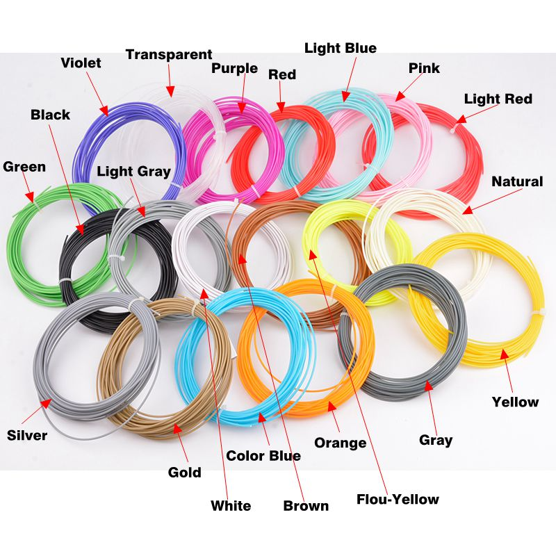 20 Colors 3D Filament ABS /PLA 1.75mm 3D Printer Filament Material (5M/color ,tota100M) For 3D Printing Pen 3D Printer/20 3d printer filament 50m 5 colors 10m color abs pla 1 75mm 3d filament printing materials for 3d printing pen 3d printer