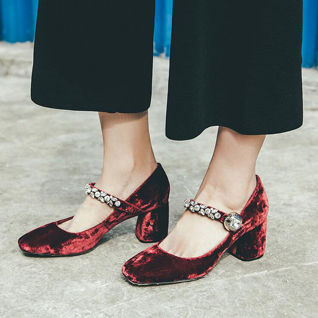 Nice European Style Velvet Buckle Rhinestones Mary Jane High Heels Shoes  Woman Square Head Shallow Sheepskin Wedding Shoes Z558 5012399ea3e3