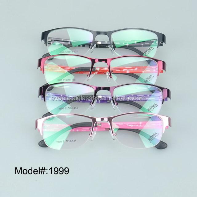 1999 da mulher de metal meia borda frame ótico óculos de miopia hipermetropia óculos prescritpion óculos óculos