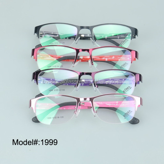1999 woman's metal half rim optical frame myopia spectacles hyperopia eyewear prescritpion eyewear glasses