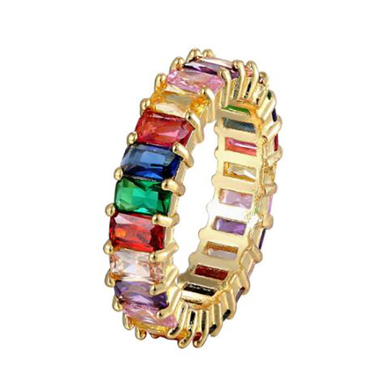 Hot Sell Square Baguette Cubic Zirconia Engagement Rings For Women Colorful Stone Rainbow Band Rings Fashion Jewelry