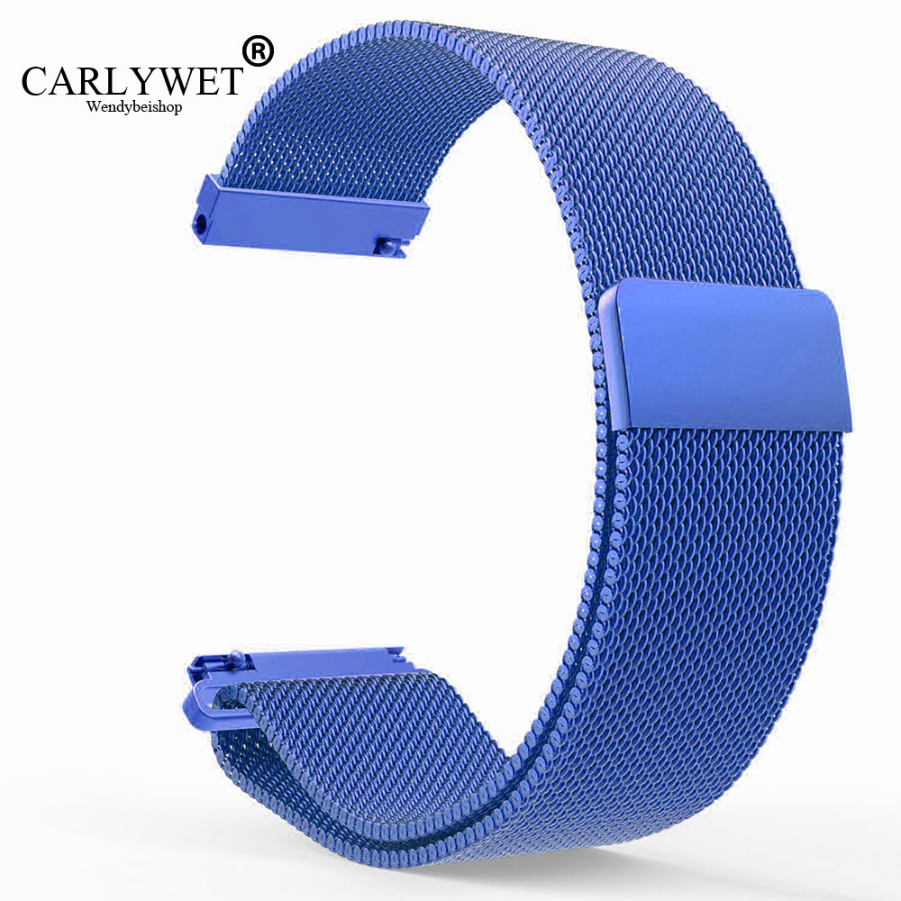 CARLYWET 16 18 20 22 23mm Silver Black Gold Rose Gold  Blue Mesh Milanese Loop Steel Wrist Watch Strap With Magnetic Closure 16 18 20 22 23mm silver black gold rose gold blue mesh milanese loop steel bracelet wrist watch band strap magnetic closure