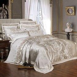 Funda de edredón de Jacquard de seda de lujo de oro plateado, juego de cama de tamaño queen con bordado, juego de sábanas/juego de sábanas