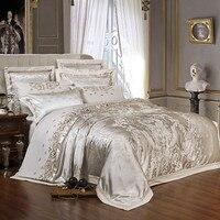 Juego de edredón de seda de satén de seda de lujo de oro de plata juego de cama de tamaño queen king bordado juego de cama/equipado hoja