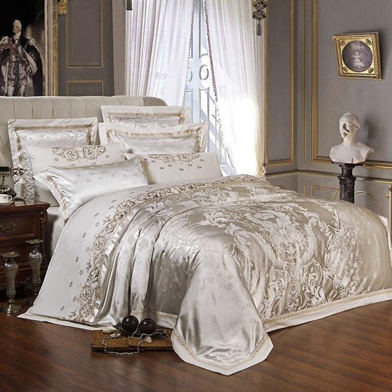 Lasca de Ouro de Luxo de Cetim de Seda Jacquard capa de edredão conjunto de cama queen size rei jogo de cama Bordado folha de cama/Equipado conjunto de folhas