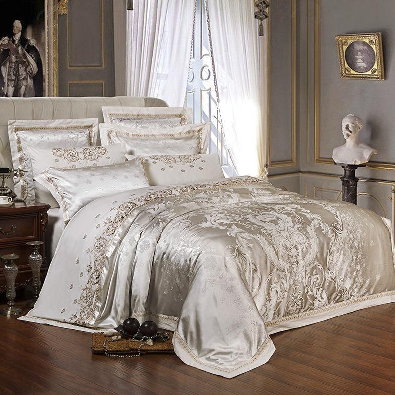 Sliver Gold Luxe Zijde Satijn Jacquard Dekbedovertrek Beddengoed Set Queen King Size Borduren Bed Set Laken/Gemonteerd sheet Set