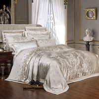 Sliver Golden Luxe Satijn Jacquard beddengoed sets Borduurwerk bed set dubbele queen kingsize dekbedovertrek laken set kussensloop