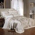 Splitter Gold Luxus Seide Satin Jacquard bettdecke abdeckung bettwäsche set königin könig größe Stickerei bett set bett blatt/Ausgestattet blatt set