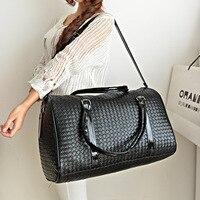 Fashion Leather PU Luxury Men Women Travel Bag Suitcase Designer 45cm High Quality Airport Handbags Trip Bags Knit Weave Bag4361