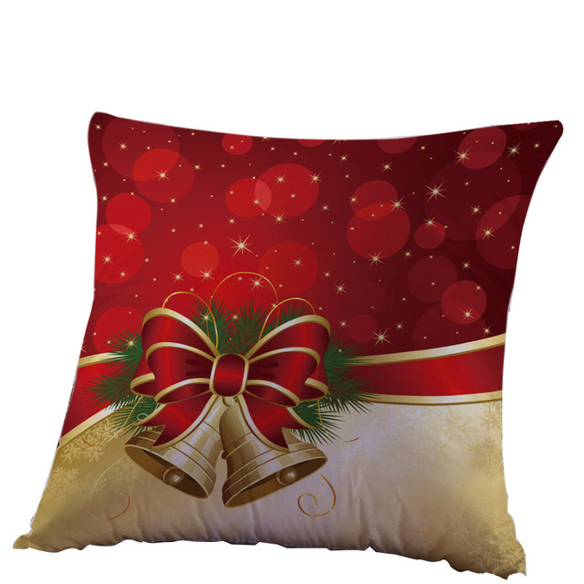 merry christmas home decor cushion cover christmas pillow case christmas bells cotton linen throw pillows cover
