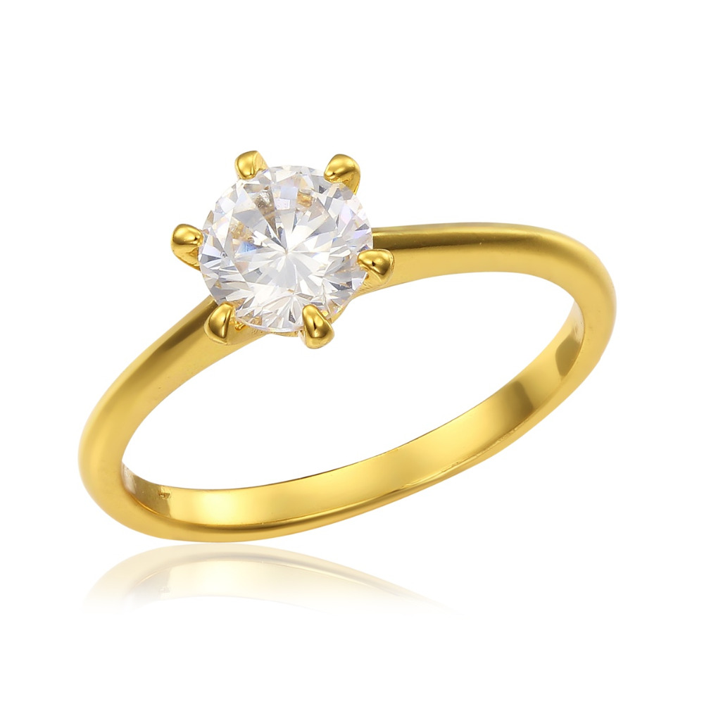 Yellow Gold Color Solitaire Six Claw Round Cz Round Ring