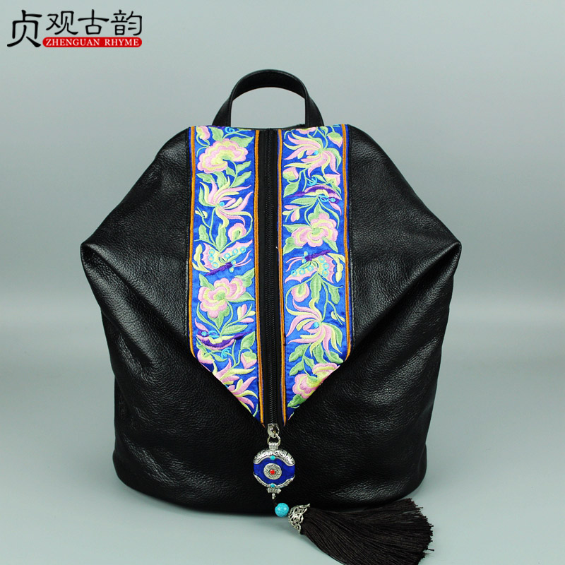 NoEnName Chinese national style Cow leather bag Ladies and girls backpack Tassel handmade ethnic flowers embroidery backpacks комбинезон moe комбинезон