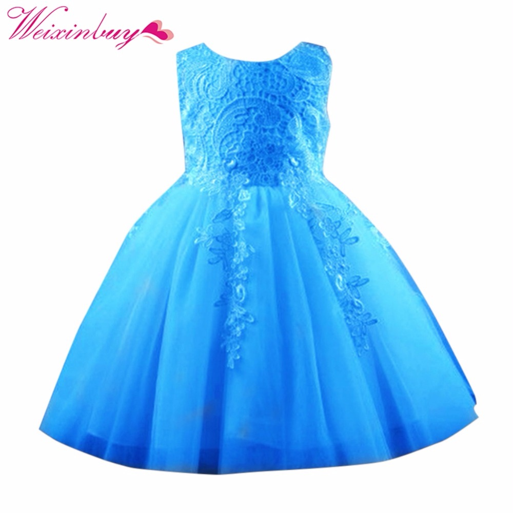 2017 child dress lace Baby Girl Party Dress Sleeveless Flower Tulle ...
