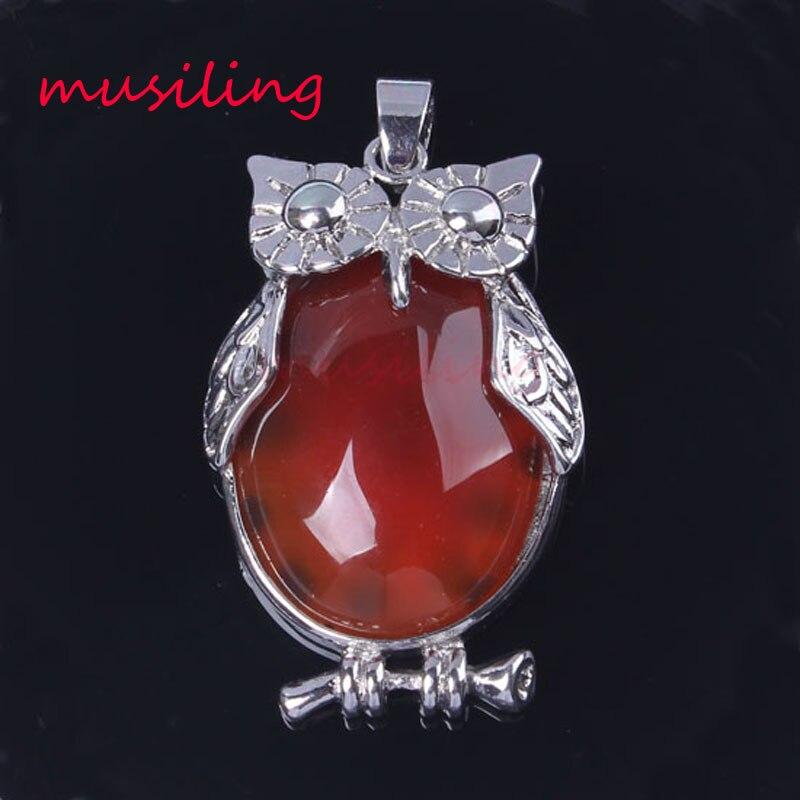 Cristal oval quartzo vários grânulo de pedra natural animal coruja reiki pingente charme wicca bruxa amuleto moda jóias 10x mix fim