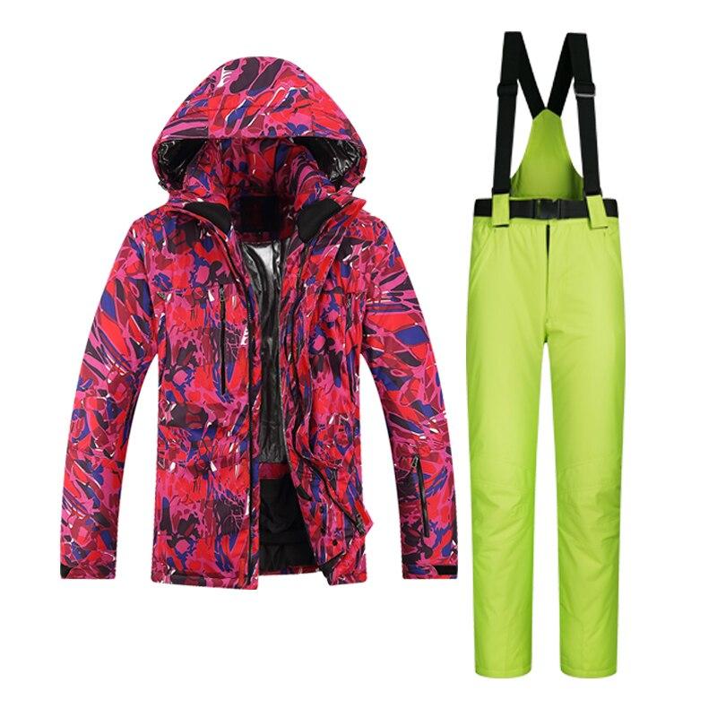Prix pour 2017 Nouveau Haute Qualité Hommes Ski Vestes Et Pantalons Snowboard Vêtements Épais Chaud et Imperméable Coupe-Vent D'hiver Robe Léopard Veste