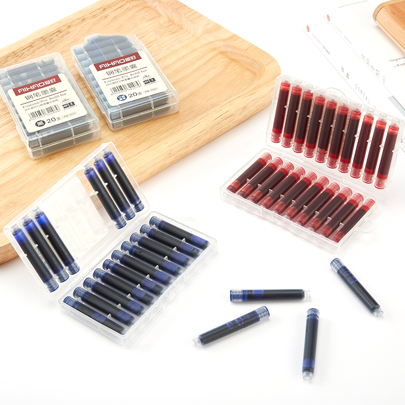 Fountain Pen Refill Ink 20pcs/set Black Red Erasable Blue/dark-blue Ink Cartridge With Case School Office Supplies