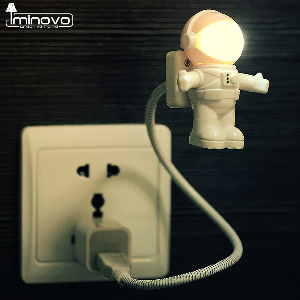 buy IMINOVO Astronaut USB Night Lights LED Keyboard Book Reading Lamp Mini Light For Laptop Ery-Protection Flexible Spaceman pic,image LED lamps offers