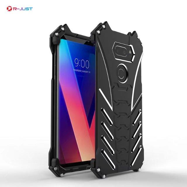 Ultra Slim Thin Aircraft Aluminum Metal Case For LG V30 / V30+ Plus Shockproof Alloy Back Cover Fashion Shell Kickstand