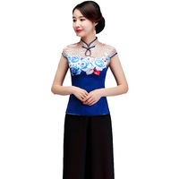 Summer Lady Flower Short Sleeve Shirt Top Chinese Vintage Mother Wedding Clothes Elegant Business Mandarin Collar Blouse M 4xl