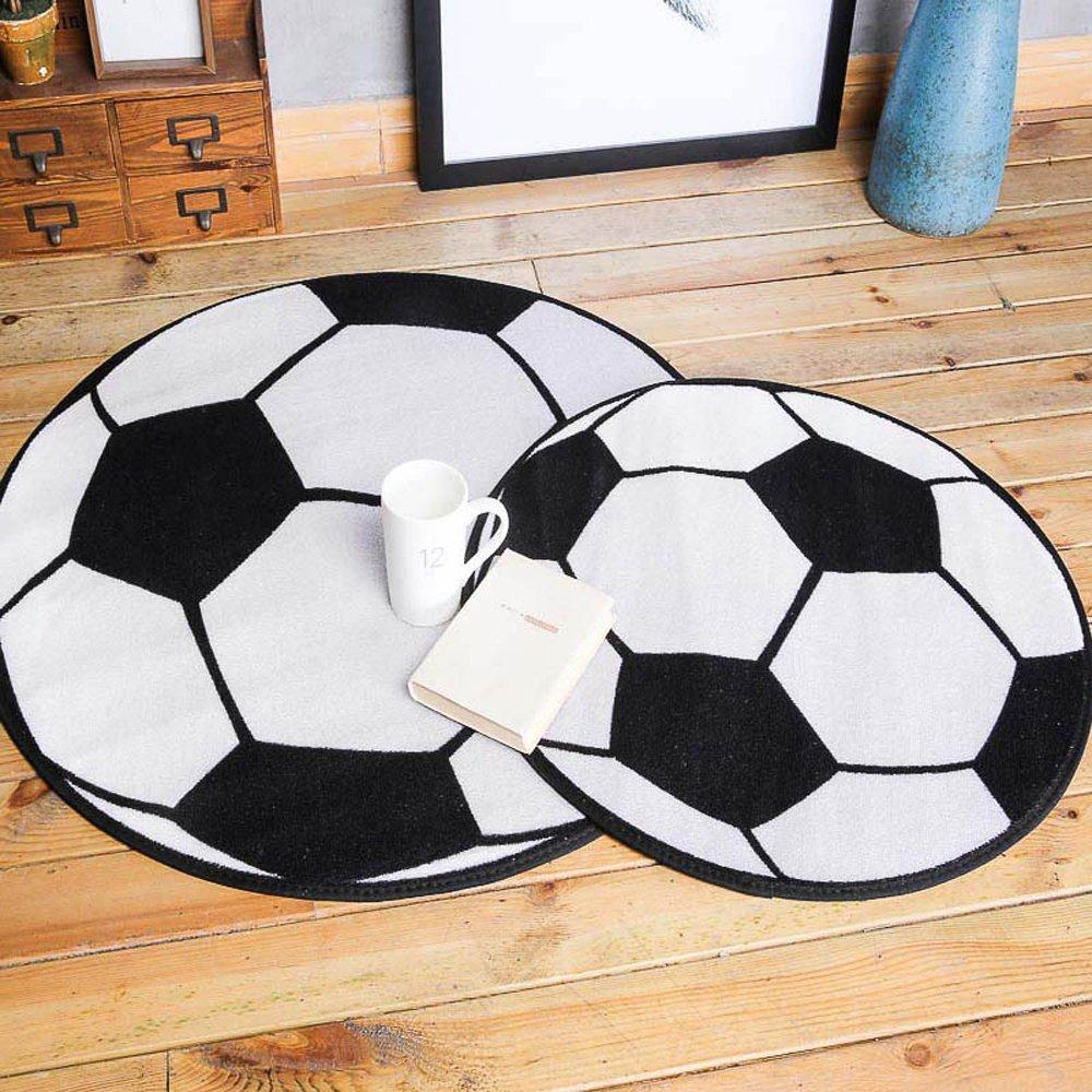 Wonderbaarlijk Zwart Wit Voetbal Ronde Tapijt en Tapijten Kinderkamer Karpetten XC-08