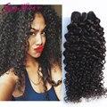 Pelo virginal brasileño rizado 5 unids lote natural color negro # 1b ali moda pelo 100% del pelo humano brasileño rizado rizado de la virgen pelo