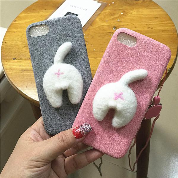 Corgi case handmake igły filcu wełnianego słodkie cat dog tyłek tyłek pokrywa dla apple iphone 6 6s plus iphone 7 7 p miękkie telefon komórkowy case 20