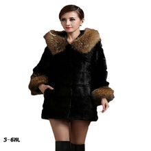 New fur coat 2017 Nightclub fashion man-made sleeves with a hat raccoon big faux jacket size womans