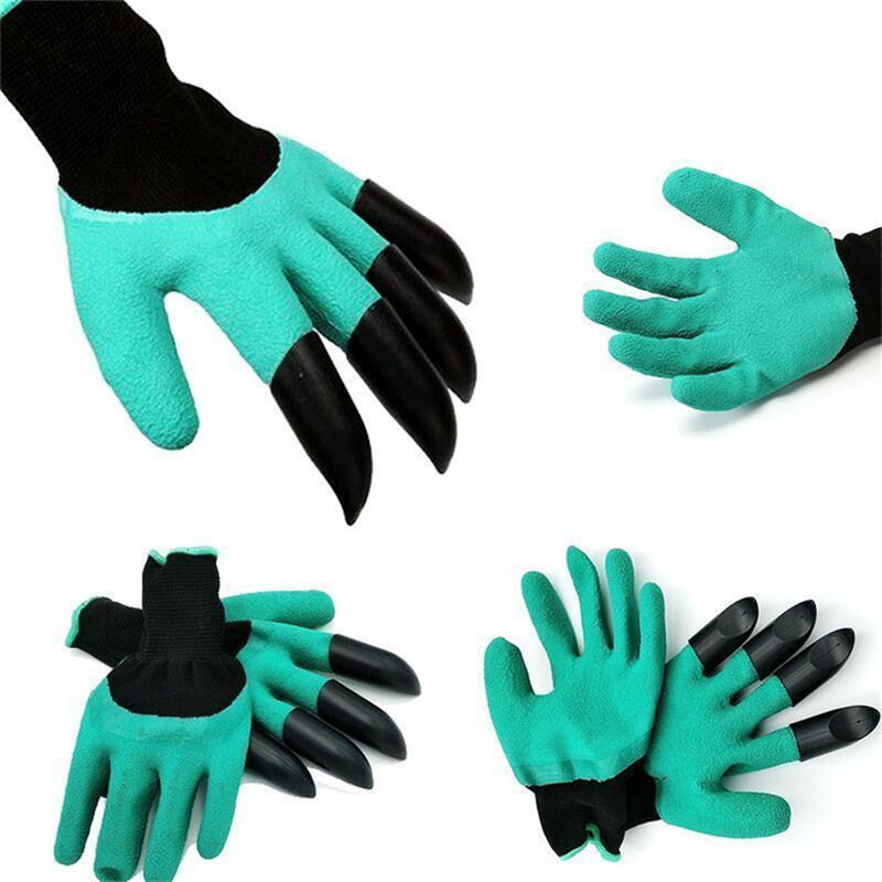 Hot Sale Rubber Garden Gloves With 4 Abs Plastic Fingertips Claws For Gardening Raking Digging