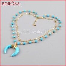 BOROSA Altın Rengi Mavi Howlite Yeşilimsi Gök Mavisi Taş Hilal Boynuz Katmanlı Kolye Kadınlar için moda takı G1186