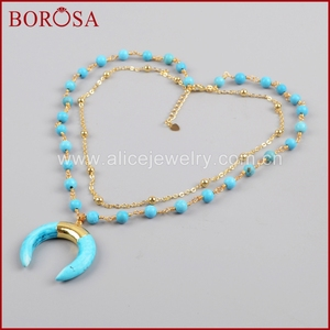 Image 1 - BOROSA זהב צבע כחול ירקרק שמיים כחולים Howlite סטון סהר צופר שכבה G1186 תכשיטי אופנה שרשרת לנשים