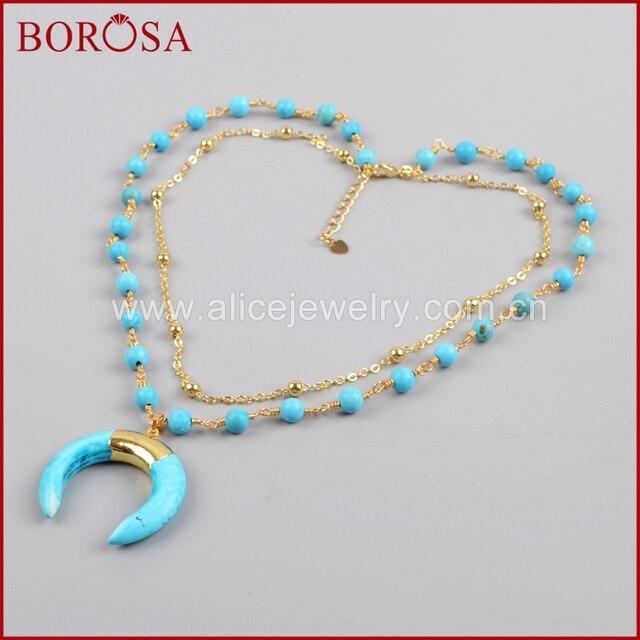 BOROSA זהב צבע כחול ירקרק שמיים כחולים Howlite סטון סהר צופר שכבה G1186 תכשיטי אופנה שרשרת לנשים