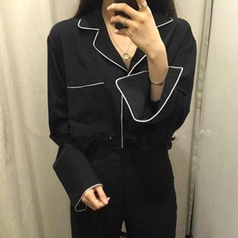 New Spring Donne Dell'annata Shirt Allentato Completa Sleeve V-Neck Francese Pigro Pigiama Stile Camicetta Bianco Nero 8586