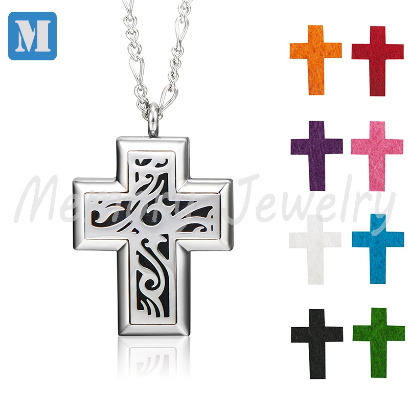 New Arrival Cross Stainless Steel Aromatherapy Essential Oil Diffuser Necklace Locket Pendant with 8 Refill Pads
