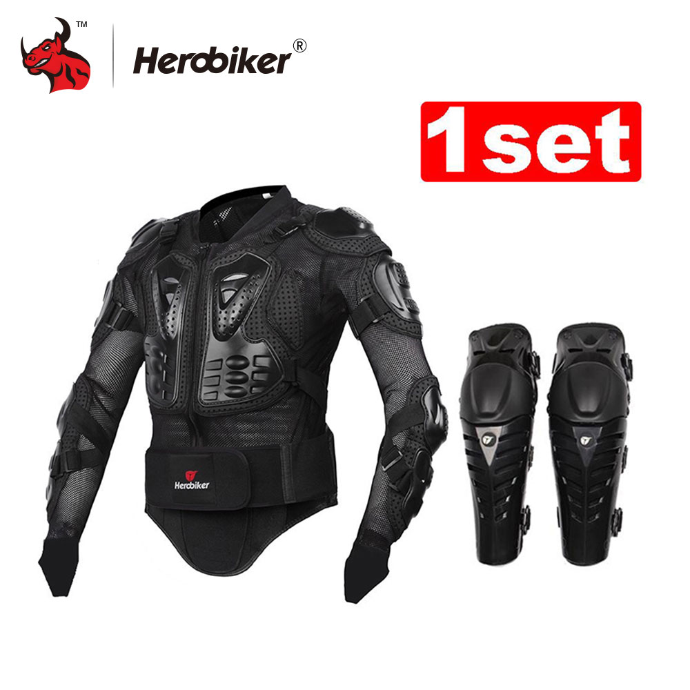 HEROBIKER Motorcycle Body Armor Protective Jacket+ Protective Motorcycle Knee Pad Kits Suits Motocross Armor Motorcycle Jacket winmax 6pcs set knee elbow protective pad