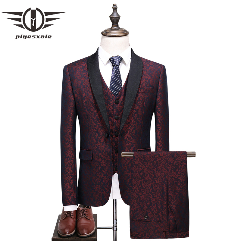 Plyesxaleショール襟スーツ男性2018スリムフィットメンズ結婚式スーツファッションプリントブルーブルゴーニュタキシードジャケットパンツベストq375  グループ上の メンズ服 からの スーツ の中 1