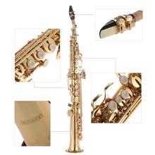 brand Brass Straight Soprano Saxophone Bb B Flat Sax Woodwind Instrument Natural Shell Key Carve Pattern 4 colors