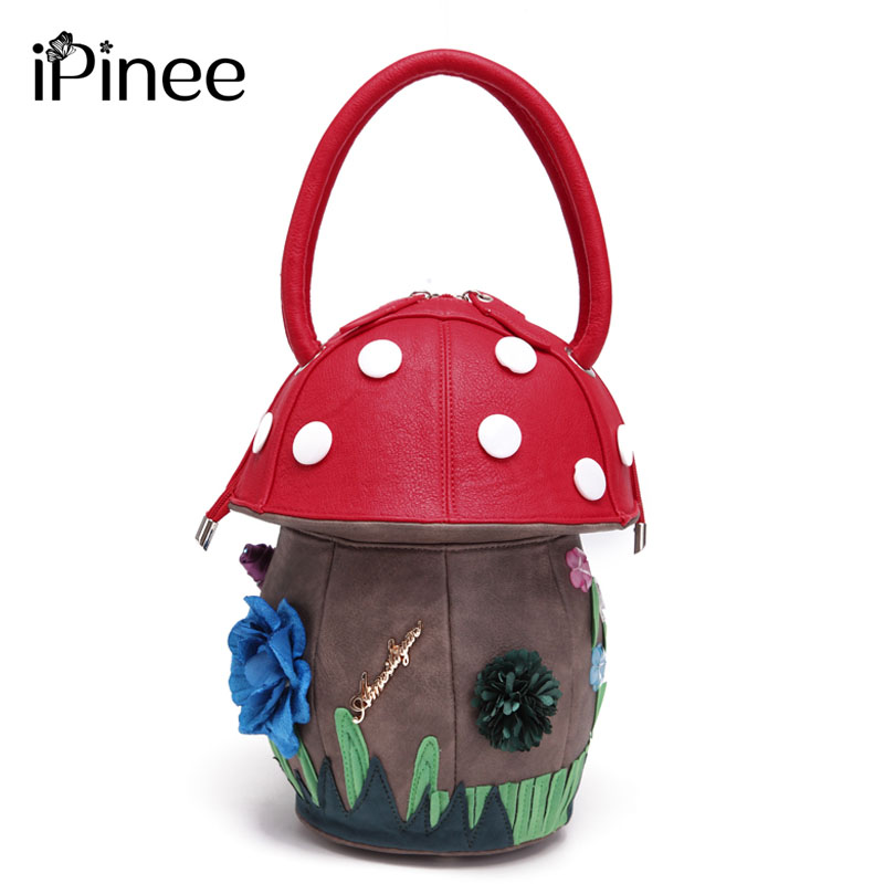 Ipinee 새로운 도착 여자 럭셔리 꽃 디자이너 핸드백 귀여운 버섯 손 가방 pu 가죽 작은 가방 여성을위한-에서탑 핸드백부터 수화물 & 가방 의  그룹 1