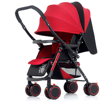 Lightweight Folding Eight wheel Baby Trolley Can Sit Can Lie Two way Push Car Infant Umbrella Strollers Dinner Car Baby Stroller