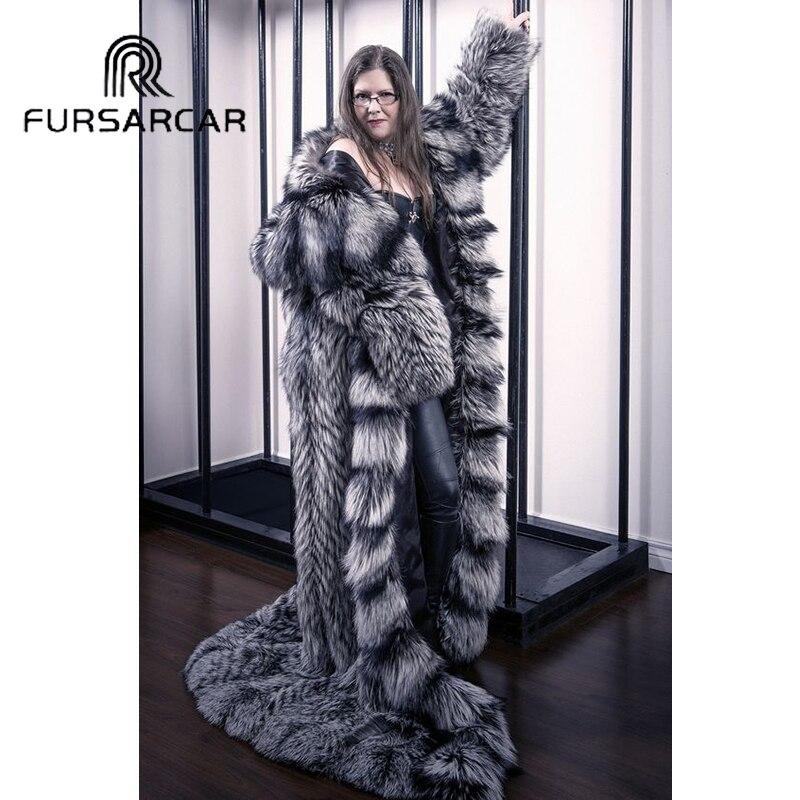 FURSARCAR naturel femmes véritable argent fourrure de renard 160 CM Long femme veste renard manteau de fourrure avec capuche épais chaud réel manteau de fourrure