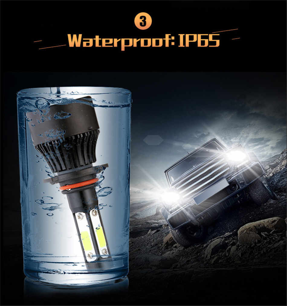 PAMPSEE New 4 Side Lumens COB 80W 8000lm H4 Hi lo H7 H11 9005 9006 Car LED Headlight Bulbs Auto Led Headlamp LED Light 12v 24v