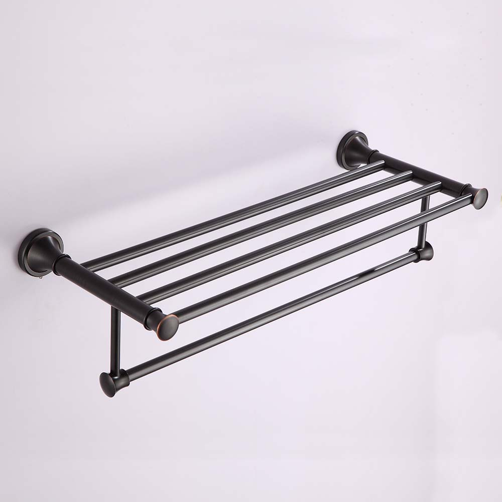Bathroom Shelves High Quality Wall Mounted Black Towel Rack Holder Hanger Bath Clothes Storage Shelf Shengweisi G