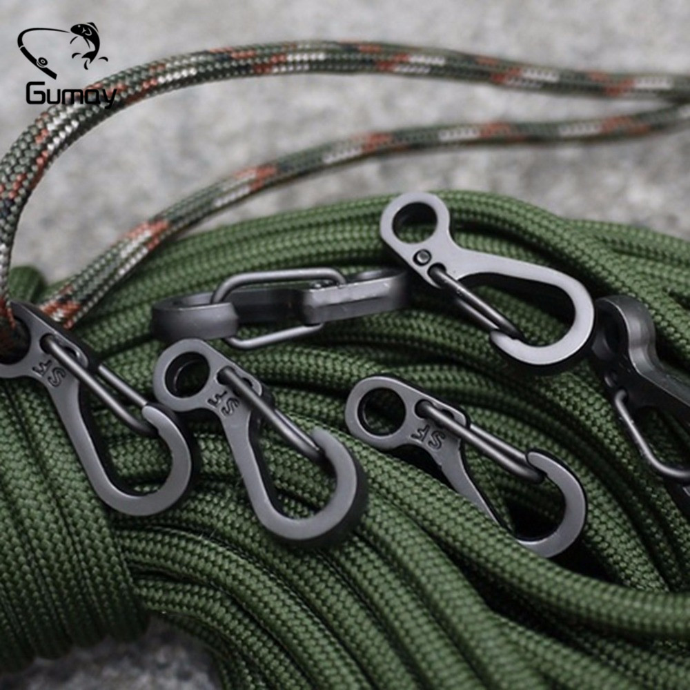 Gumay 10pcs Mini SF Printemps Fermoirs Mousquetons Escaliers EDC Porte-clés Camping Bouteilles Crochets Paracord Tactical Survival Gear