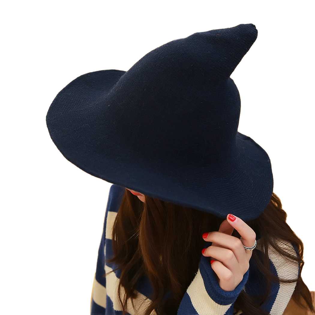 ca99a6389fb 2018 Wool Knit Bucket Hat Witch Hat Fisherman Men Women Halloween Hats Brim  Sun Berets Witch Pointed Basin Hat Hapeau For Female-in Bucket Hats from  Apparel ...